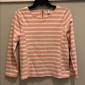 J. Crew Pink and White 3/4 Sleeve Top